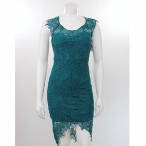 Free People Intimately Lace Slip Dress Teal/Green